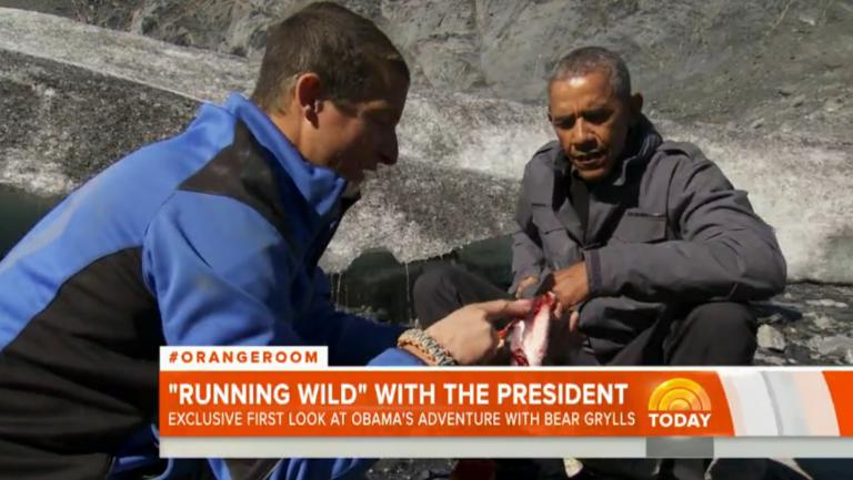 Il presidente Obama in compagnia di Bear Grylls